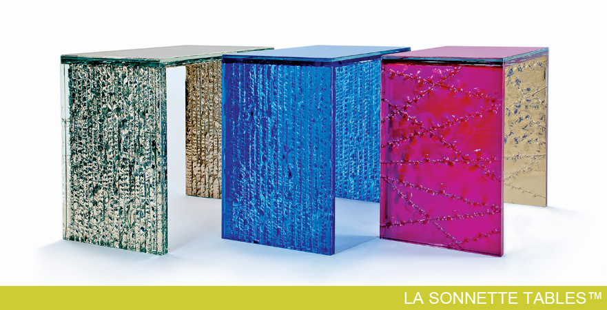 Custom La Sonnette Tables by Cosmopolitan Glass